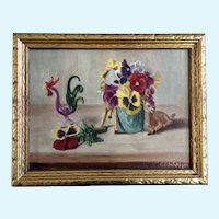 Mid-Century Still Life of Deer Vase with Pansies and a Rooster Figurine Oil Painting on Canvas Signed