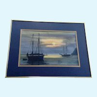 J Harold Campbell (JHC) Silhouettes of Sailboats Watercolor Painting