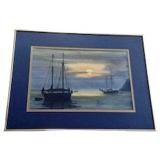 J Harold Campbell (JHC) Silhouettes of Sailboats in Sunset Moorings Watercolor Painting Signed by New Orleans Artist
