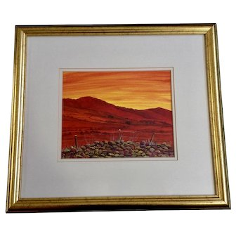 Jim Barnes Cooley Peninsula at Sunset Dublin Landscape Acrylic Painting Singed by Irish Artist