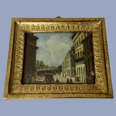 Werner, Old Master Miniature European Street Scene Oil Painting on Copper Plate