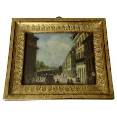 Werner, Old Master Miniature European Street Scene Oil Painting on Copper Plate 19th Century