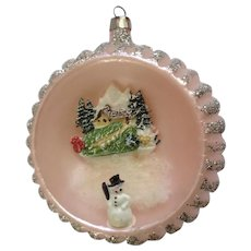 Vintage Plastic Christmas Tree Ornament Ball Diorama Snowman with Chalet Pink with Silver Glitter