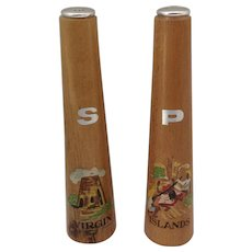 Mid-Century Tall Wooden Salt and Pepper Shakers Virgin Island S&P Souvenirs