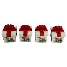 Pfaltzgraff Winterberry Pretty Packages Christmas Packages Salt and Pepper Shakers Porcelain S&P Sets