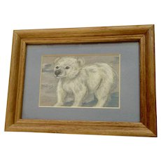 Millips, Baby Polar Bear Pastel Drawing Signed by Artist