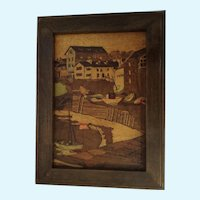 Vintage Marquetry Picture Inlaid Wood European Harbor Scene