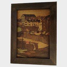 Vintage Marquetry Picture Inlaid Wood European Harbor Scene