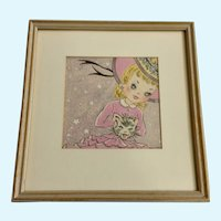 Martha L. Trick, Girl with a Cat Muff Watercolor Signed By Mid-Century New York Commercial Artist