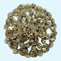 Silver-Tone and White Rhinestone Encrusted Brooch Pin