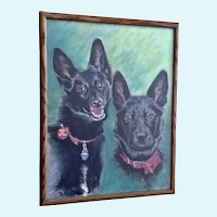 Australian Kelpie Dog Portraits Oil Pastel Painting