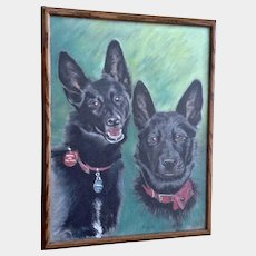 Australian Kelpie Dog Portraits Oil Pastel Painting Works on Paper Signed by Artist