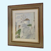 White Buildings and Windmill on Santorini Island, Greece Original Watercolor Signed by Artist