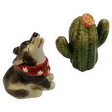 Vintage Howling Coyote and Cactus Salt and Pepper Shakers Ceramic S&P Figurines