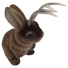 Adorable Vintage Jackalope Bunny Rabbit Brown Flocked Coin Bank with Antlers