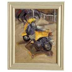 Gray & Yellow Moped Oil Painting on Board