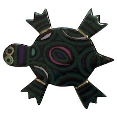 Adorable Ceramic Green Turtle Brooch Pin Signed by Artist