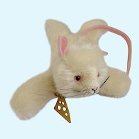 Annette Funicello Stuffed Animal #88271 Squeak Mouse, #7 with Cheese Mohair Plush Collar