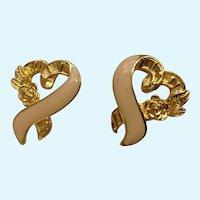 Gold-Tone Metal Hearts with Pink Enamel Stud Post Earrings Avon