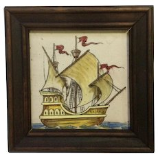 Vintage Spanish Galleon Tile Pirate Sailing Ship Framed Folk Art Artespana Spain