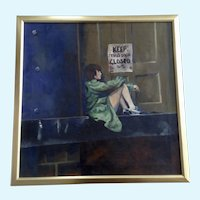 L. L. Thompson, Young Woman in Alley Loading Dock Oil Painting