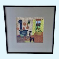 J Marty, Colorful Interior Still Life Original Watercolor Painting Signed by Artist