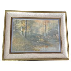 William Arnold Eyden Jr. (1893-1982) Gouache Watercolor Painting Landscape Early Morning in the Woods #8 Signed By Listed Indiana Artist