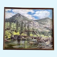Zyta Laky (1912 - 1971) Bliss Bridge Plain Air Mountain Landscape Oil Painting
