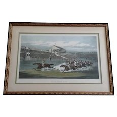 Vintage Aquatint Etching The Winning Post by Henry Thomas Alken Published 1871, London and Paris, by J. McQueen