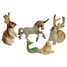 Vintage RARE Jackalope Bunnies, Unicorn Horse & Mermaid Mythical Characters Bone China Miniature Figurines Group