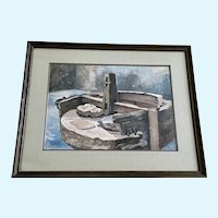 Kit Staples,  Spanish Arastra Ore Crusher Central City Colorado Watercolor Painting