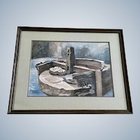 Kit Staples, The Spanish Arastra Ore Crusher Central City Colorado Watercolor Painting Signed by Artist 1973
