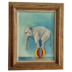 Nana, Adorable Circus Baby Elephant on Ball Oil Painting Signed By Artist