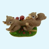 Fitz & Floyd Charming Tails Figurine Can't Run From Love Gray Squirrels