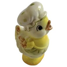 Vintage Rare Josef Originals Cutie Pie Bird Country Yellow Chick with Bonnet or Kitchen Maid Hat