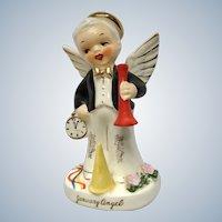 1956 Napco Boy January New Year's Birthday Angel Mid-Century #A1917 Japan Figurine