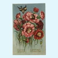 Easter Greetings Girls Flowers Anthropomorphic Embossed Ephemera Postcard #860