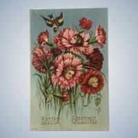 Vintage Easter Greetings Girls Faces in Flowers Anthropomorphic Embossed Ephemera Postcard #860