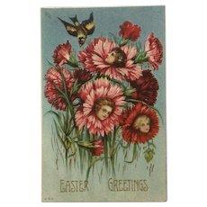 Easter Greetings Girls Flowers Anthropomorphic Embossed Ephemera Postcard #860