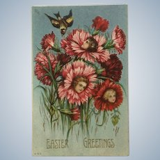 Vintage Easter Greetings Girls Faces in Flowers Anthropomorphic Embossed Ephemera Postcard #860