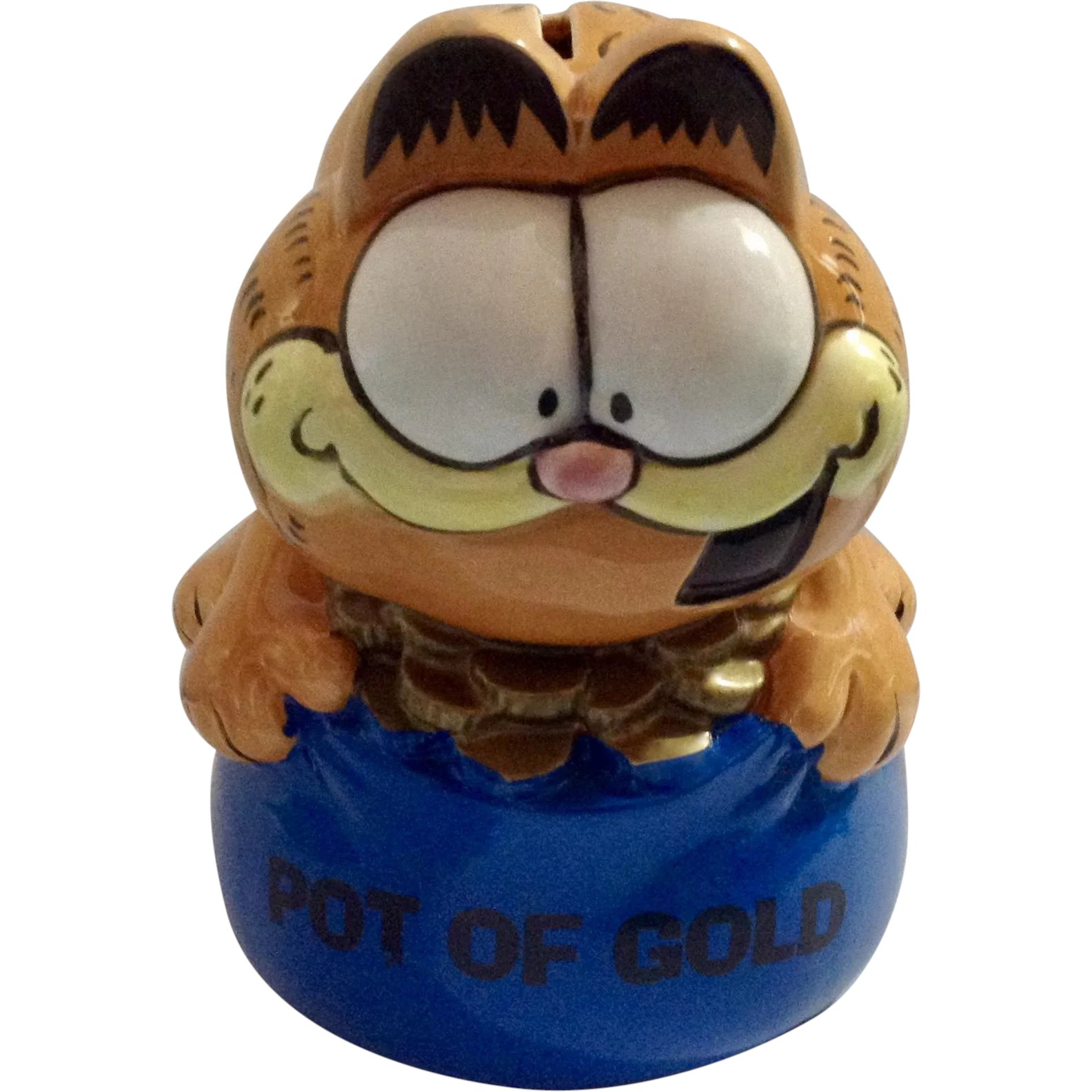 """Vintage Garfield Alpo Cat Food Container Coin Bank w// lid 1981 Plastic 12/"""""""