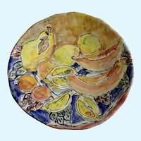 Richard Selfridge Majolica Art Pottery Large Charger Plate Fruit Bowl Listed Artist