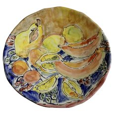 Richard Selfridge Majolica Art Pottery Large Charger Plate Bowl Lemons, Fruit and Melons Listed Artist