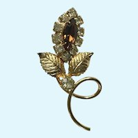 Amber and Gold-Tone Floral Rhinestone Brooch Pin