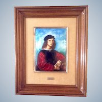 Agnolo Doni, Portrait, Renaissance Old Master, Painting on Copper Enamel, The Original was Painted by Rafael