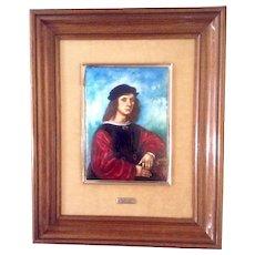 Agnolo Doni, Portrait, Renaissance Old Master, Painting on Copper Enamel, The Original was Painted by Rafael