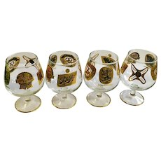 Beer Snifters Glasses Gold Labels Schlitz, Pabst Blue Ribbon, Miller High Life, Ballantine and Lowenbrau Set of 4