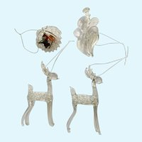 Intricate Glass Filigree Deer, Angel and Fruit Basket Christmas Tree Ornaments Figurines Group