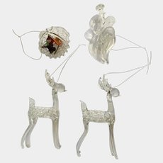 Intricate Glass Filigree Deer, Angel and Fruit Basket Christmas Tree Ornaments Figurines Group