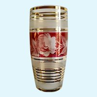 1970's Bohemia Czechoslovakia Cranberry Flash Etched Flowers & Ferns with Gold Trim Glass Vase